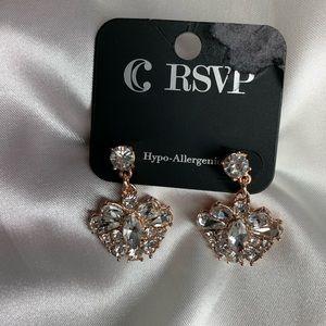 NEW- Charming Charlie rose gold + diamond earrings
